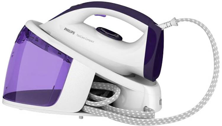 Image of Philips FastCare Compact GC6704/30 Stoomstrijkstation 2400 W Wit, Wijnrood