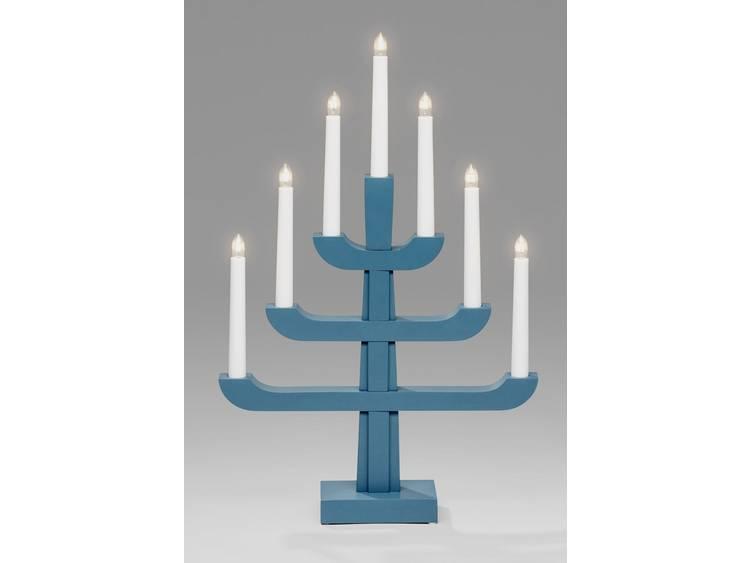 Houten kandelaar Energielabel: E (A++ - E) Helder Gloeilamp Blauw, Grijs Konstsmide 3586-490