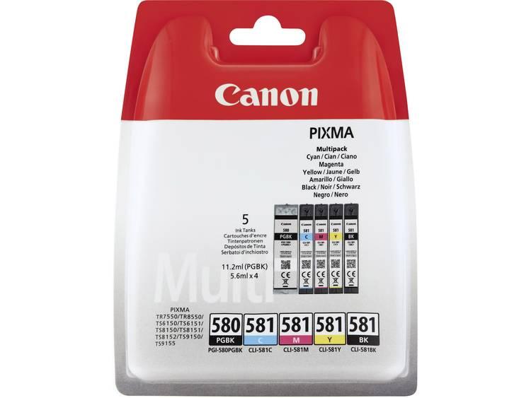 Canon Inkt PGI-580, CLI-581 PBKBKCMY Origineel Combipack Zwart, Foto zwart, Cyaan, Magenta, Geel 2078C005