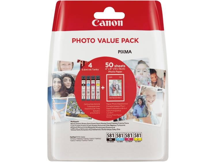 Canon Inkt CLI-581 Photo Value Pack CMYK Origineel Combipack Foto zwart, Cyaan, Magenta, Geel 2106C005