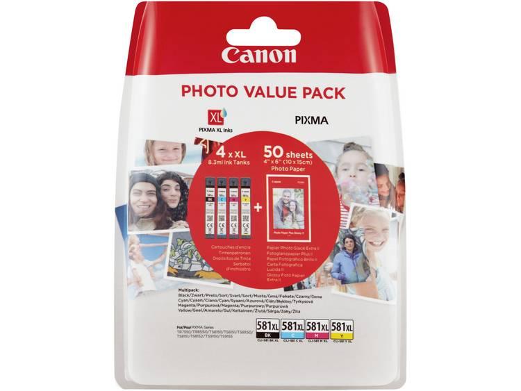 Canon Inkt CLI-581XL Photo Value Pack CMYK Origineel Combipack Foto zwart, Cyaan, Magenta, Geel 2052C004