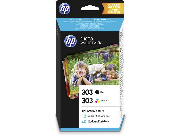 HP Cartridge 303 Photo Value Pack Origineel Combipack Zwart, Cyaan, Magenta, Geel Z4B62EE Cartridge multipack