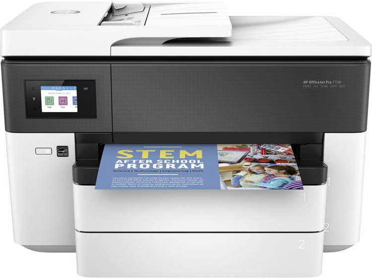 HP Officejet Pro 7730 Wide Format All-in-One Multifunctionele inkjetprinter Printen, Scannen, Kopiëren, Faxen LAN, WiFi, Duplex, ADF