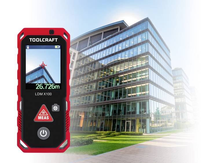 TOOLCRAFT LDM X100 Laserafstandsmeter Bluetooth, Koffer, Documentatie-app, Touchscreen Meetbereik (max.) 100 m kopen