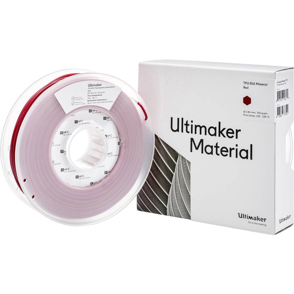 Ultimaker TPU - M0369 Red 750 - 215194 3D-skrivare Filament semiflexibel 2.85 mm 750 g Röd 1 st