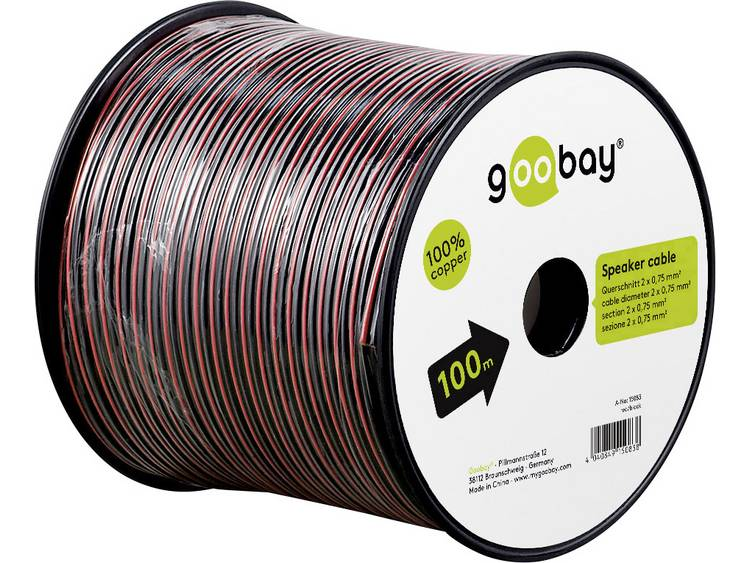 Goobay 15093 Luidsprekerkabel 2 x 0.75 mm² Rood/zwart 10 m