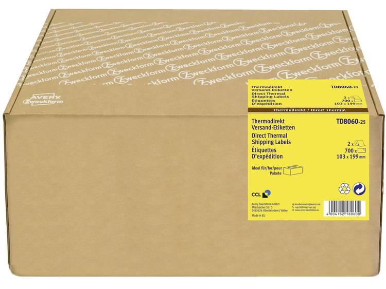 Avery-Zweckform Etiketten (rol) 103 x 199 mm Thermisch papier Wit 700 stuks Permanent TD8060-25 Verzendetiketten, Adresetiketten