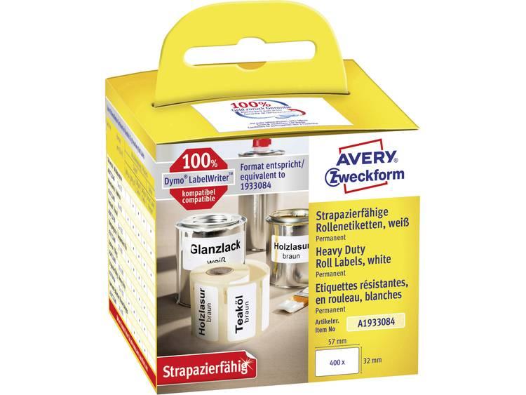 Avery-Zweckform Etiketten (rol) 57 x 32 mm Folie Wit 400 stuks Permanent A1933084 Universele etiketten