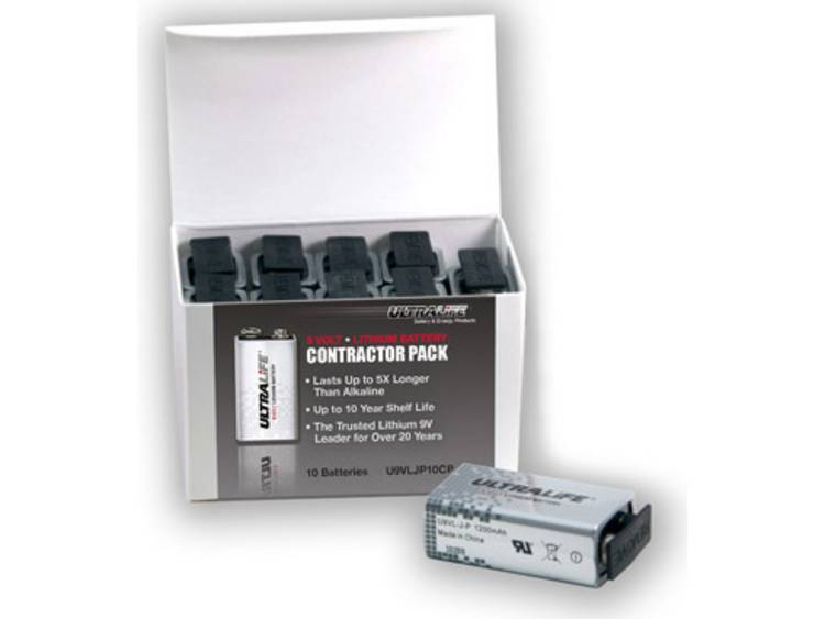 9V batterij (blok) Ultralife U9VL-J-P 6LR61 Lithium 10 stuks
