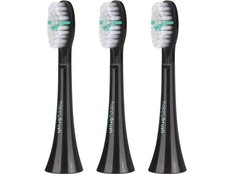 Opzetborstel voor elektrische tandenborstel HappyBrush 03436 3 stuks Zwart