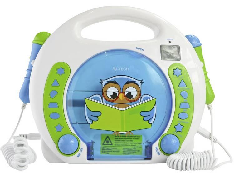 X4 Tech Bobby Joey Lese Eule Kinder CD-speler USB, SD Incl. microfoon, Incl. karaoke-functie Blauw,