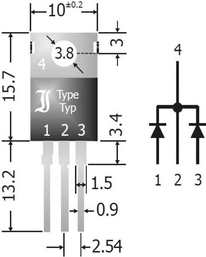 Skottky diode array gelijkrichter 20 A Diotec SBCT2040 SIP-3 Array - 1 paar gemeenschappelijke kathode