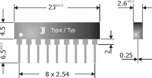 Standaard diode array gelijkrichter 600 mA Diotec DA8110K SIP-9 Array - 8 gemeenschappelijke kathode