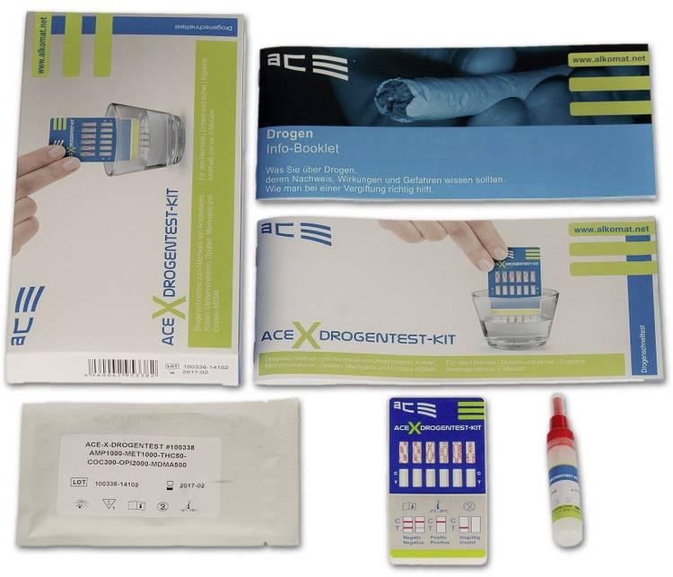 Drugstest-kit Urine. Oppervlakte ACE Kit X 100338 Detectie van (drugs)=Amfetamine. Amfetamine. MDMA. Methamfetamine. Methamfetamine. Opiaat