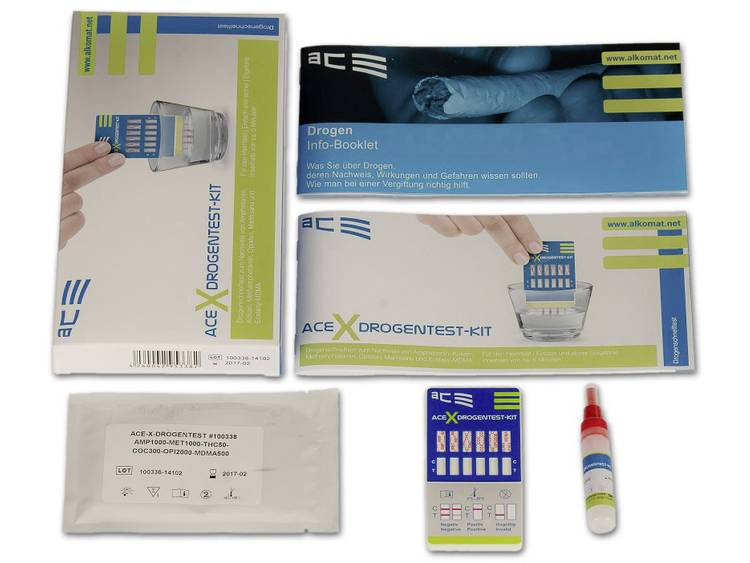 Drugstest kit Urine, Oppervlakte ACE Kit X 100338 Detectie van (drugs)=Amfetamine, Amfetamine, MDMA, Methamfetamine, Methamfetamine, Opiaat