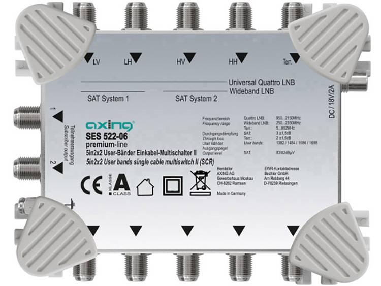 Axing SES 522-06 Satelliet multiswitch unicable Ingangen (satelliet): 5 (4 satelliet / 1 terrestrisch) Aantal gebruikers: 2