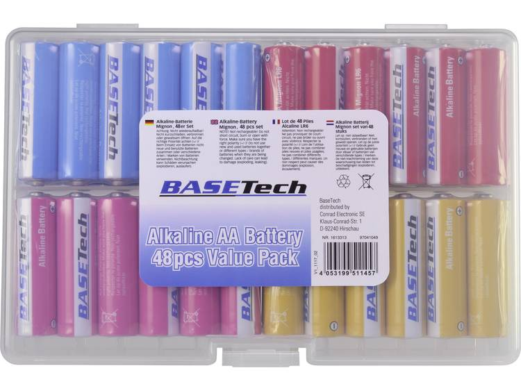 Basetech AA batterij (penlite) Alkaline 2650 mAh 1.5 V 48 stuk(s)