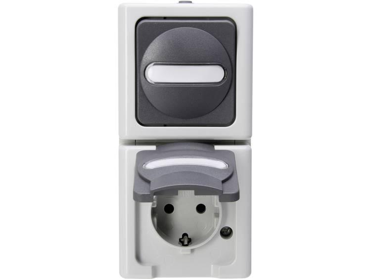 Schakel--stopcontact combinatie BlueElectric Kopp 130856009 1 stuks spatwaterdicht Grijs