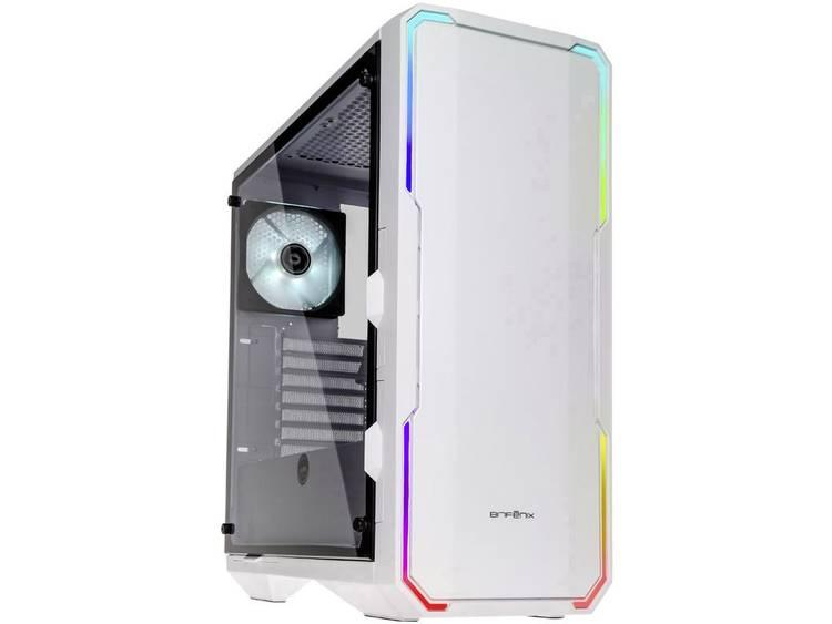 Midi-tower PC-behuizing Bitfenix Enso RGB Wit Zijvenster, Stoffilter, 1 voorgeïnstalleerde ventilator, 1 voorgeïnstalleerde LED-ventilator