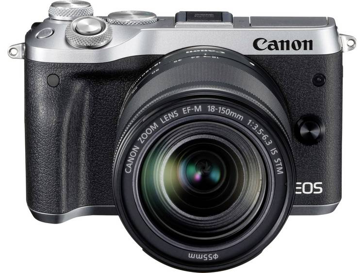 Systeemcamera Canon EOS M6 Incl. EF-M 18-150 mm 24.2 Mpix Zilver WiFi, Bluetooth, Full-HD video-opname