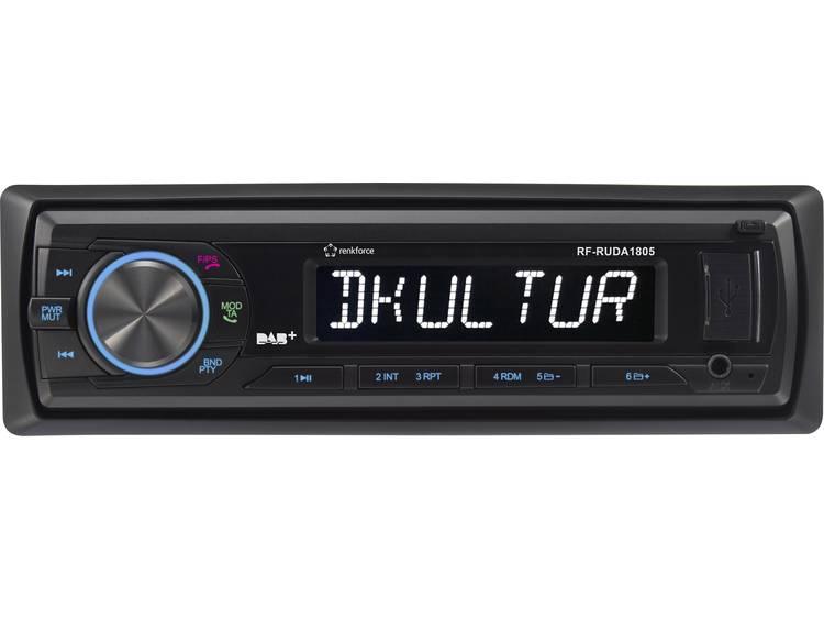 Renkforce RUDAB-1805 Autoradio enkel DIN DAB+ tuner, Incl. DAB-antenne, Bluetooth handsfree