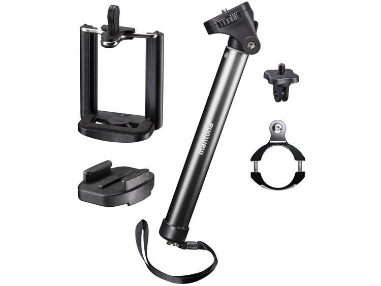 Selfiestick Mantona 20635 8 cm 1 4 inch Zwart Voor smartphones en GoPro