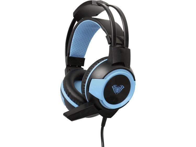 Gaming headset 3.5 mm jackplug Kabelgebonden AULA Shax Over Ear Zwart, Blauw