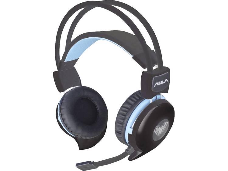 Gaming headset 3.5 mm jackplug Kabelgebonden AULA Succubus Over Ear Zwart, Blauw