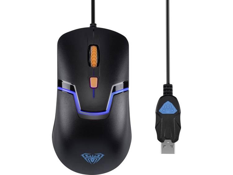 AULA Rigel USB game-muis Optisch Verlicht Zwart