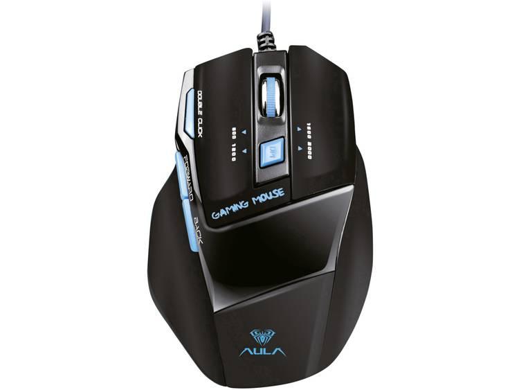 AULA Killing the Soul Expert USB game-muis Optisch Ergonomisch Zwart, Blauw