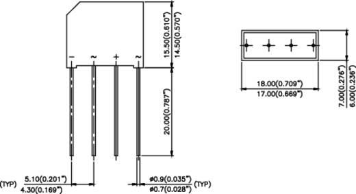 Vishay 2KBB100 Bruggelijkrichter SIP-4 1000 V 1.9 A Eenfasig
