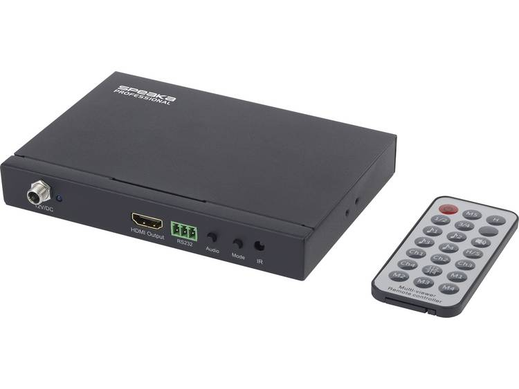 4 poorten HDMI Quad Multi-Viewer SpeaKa Professional SP-HDS-QMV100 met afstandsbediening 1080 x 720