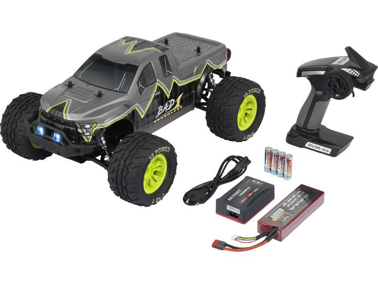 Reely Bad 1 1:10 Brushless RC auto Elektro Monstertruck 4WD 100% RTR 2,4 GHz Incl. accu, oplader en