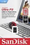 SanDisk USB-stick Cruzer Ultra Fit 16 GB USB 3.1 zwart