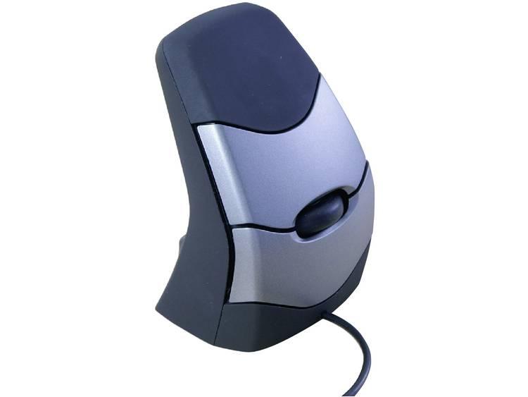 BakkerElkhuizen DXT Precision Ergo USB muis Optisch Ergonomisch Zwart, Zilver
