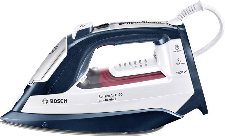 Image of Bosch Haushalt TDI953022V Sensixxx DI90 VarioComfort Stoomstrijkijzer Nachtblauw, Wijnrood 2400 W