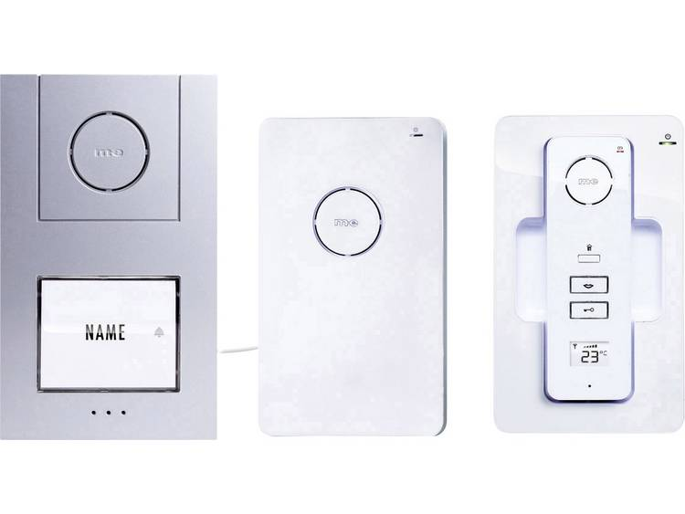 m-e modern-electronics 40941 Complete set voor Deurintercom DECT, Radiografisch 1 gezinswoning Wit-zilver