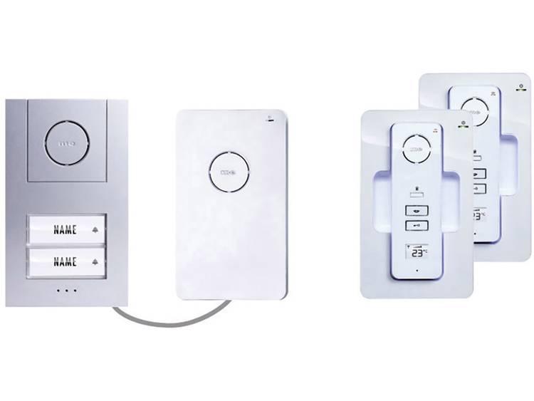 m-e modern-electronics 40942 Deurintercom DECT, Radiografisch Complete set voor 2 gezinswoning Wit-zilver