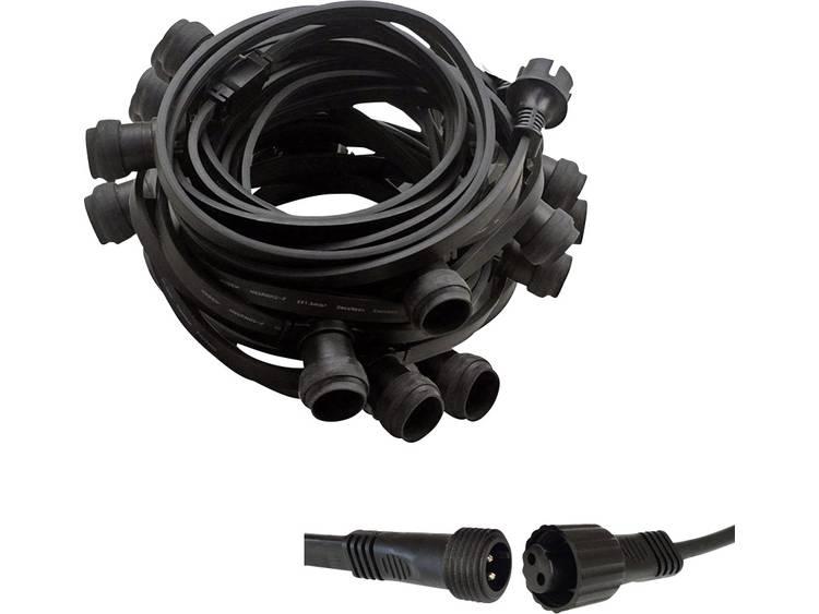 LED prikkabel zwart 40 fittingen E27 20m stekkerklaar
