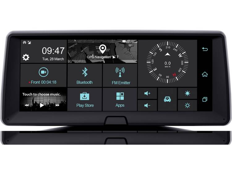 Phonocar VM321E Dashboard Multimediasystem Dashcam met GPS Kaartmateriaal Europa op SD kaart, Microfoon, WiFi, Touchscreen, Display