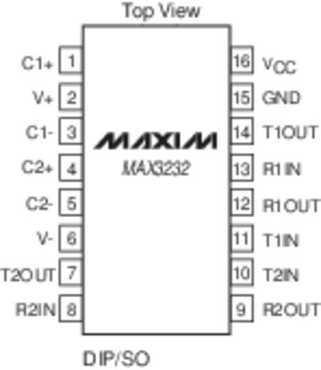 Interface-IC - transceiver Maxim Integrated MAX3232CPE+ RS232 2/2 PDIP-16