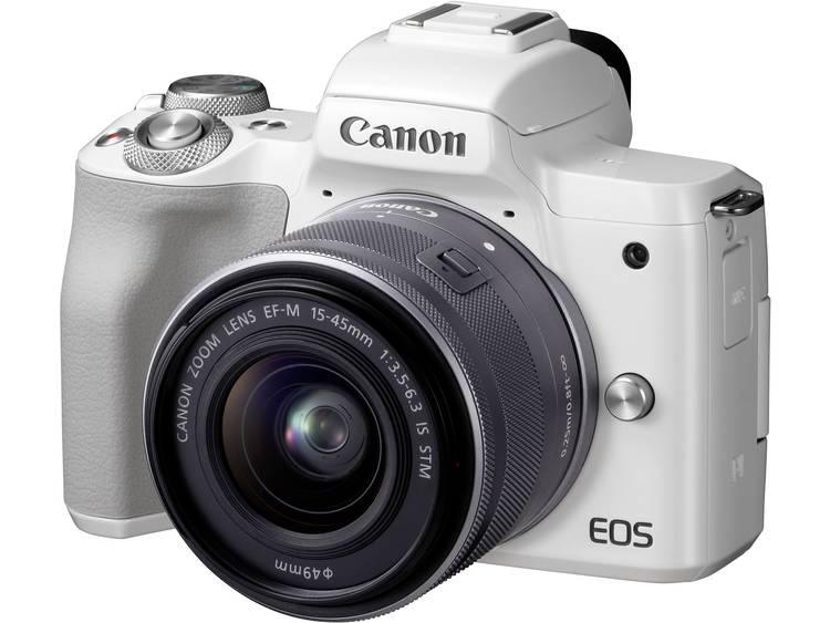Systeemcamera Canon EF-M 15-45 Kit Incl. EF-M 15-45 mm Behuizing (body), incl. accu, incl. standaard-zoomlens 24.1 Mpix Wit 4K Video, Bluetooth, Klapbaar