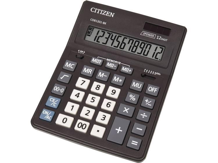 Bureaurekenmachine Citizen Office CDB 1201 Zwart Aantal displayposities: 12 werkt op zonne-energie, werkt op batterijen