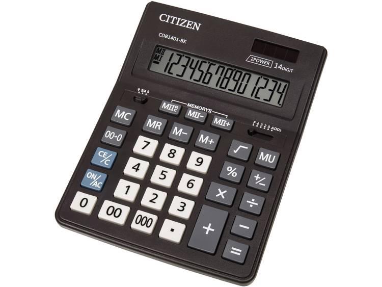 Bureaurekenmachine Citizen Office CDB 1401 Zwart Aantal displayposities: 14 werkt op zonne-energie, werkt op batterijen