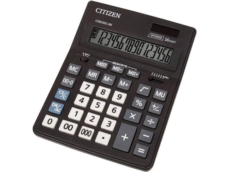 Bureaurekenmachine Citizen Office CDB 1601 Zwart Aantal displayposities: 16 werkt op zonne-energie, werkt op batterijen