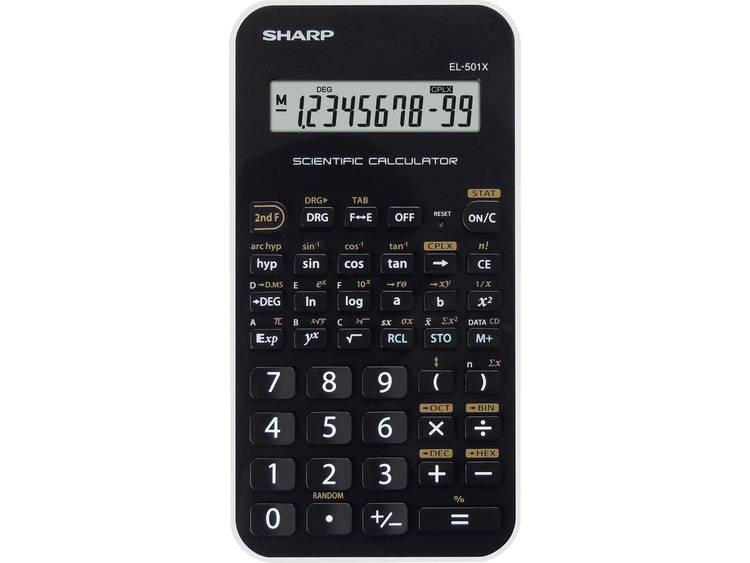 Schoolrekenmachine Sharp EL-501XB Zwart Aantal displayposities: 10 werkt op batterijen
