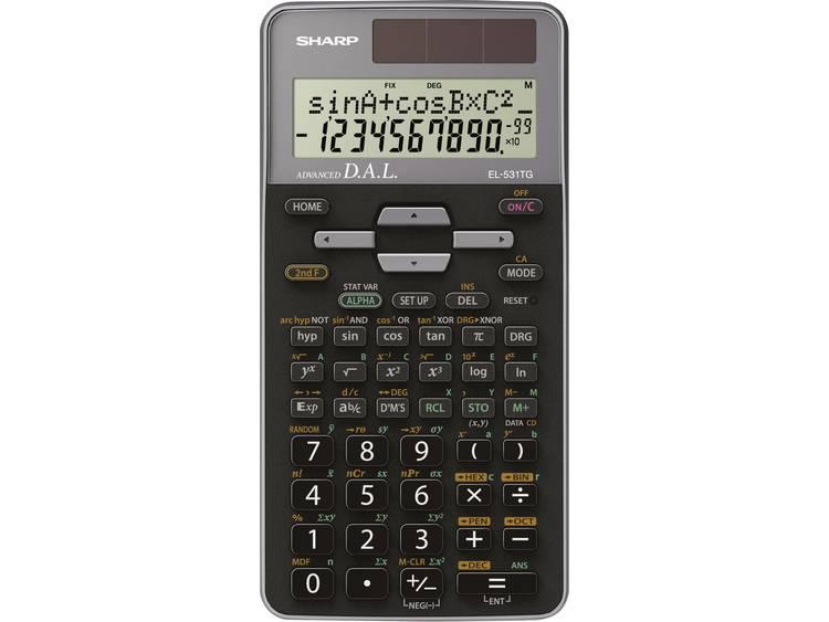Schoolrekenmachine Sharp EL-531TG Grijs Aantal displayposities: 10 werkt op zonne-energie, werkt op batterijen