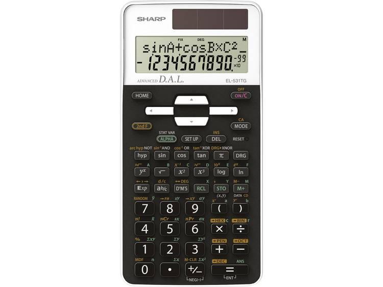 Schoolrekenmachine Sharp EL-531TG Wit Aantal displayposities: 10 werkt op zonne-energie, werkt op batterijen