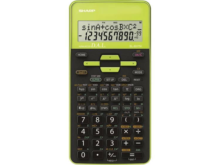 Schoolrekenmachine Sharp EL-531TH Groen Aantal displayposities: 10 werkt op batterijen