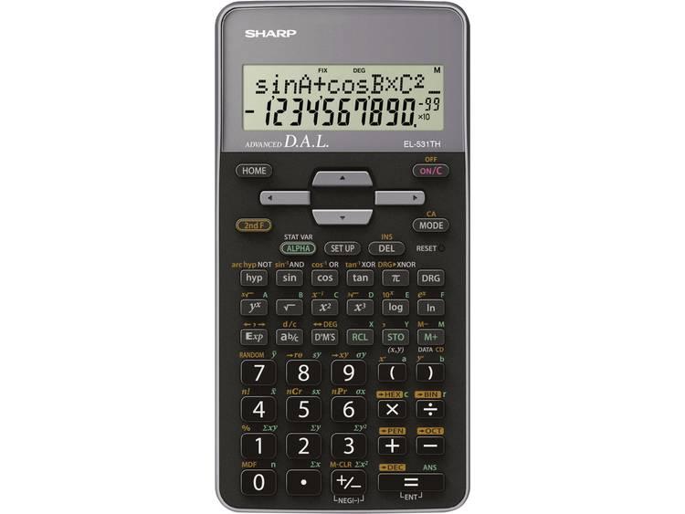 Schoolrekenmachine Sharp EL-531TH Grijs Aantal displayposities: 10 werkt op batterijen